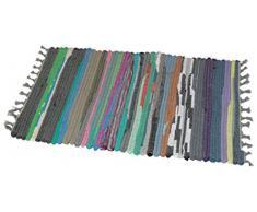 JVL Flickenteppich, aus Recycling-Material, Chindi-Design, handgefertigt, Mehrfarbig, 50 x 80 cm