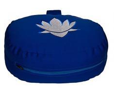 Meditationskissen / Yogakissen Lotus oval, B/T/H 28 x 23 x 13 cm, Bezug und Inlett 100% Baumwolle, Füllung: Buchweizenschalen, Bezug und Inlett maschinenwaschbar bis 30º C, blau