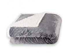 CelinaTex Fantasia XXL Kuscheldecke 220 x 240 cm grau weiß Sherpa Sofadecke Lammfell Optik Tagesdecke Sandy