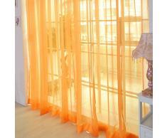 Nibesser Transparente Gardine Vorhang Dekoschal Fensterschal aus 100% Polyester 100x200cm 1 Stück (Orange)