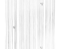 1001 Wohntraum F10 Fadenstore, 100 x 200 cm, Fadengardine Glitzer, Fadenvorhang, Raumteiler, Gardinen, weiß mit Perlen