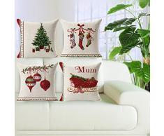 FeiliandaJJ Pillowcase Christmas, kissenhülle Kopfkissenbezug Weihnachten Dekoration Kissenbezug Beige Baumwolle Super weich Sofakissen für Wohnzimmer Sofa Bed Home,45x45cm (C)