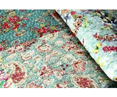 1001 Wohntraum 15J03 Quilt Gloria Blumen Ranken Vintage Tagesdecke Shabby Chic Patchwork Decke, 230 x 250 cm