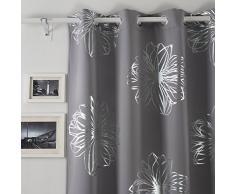 Deconovo Blickdicht Gardinen Ösen Vorhang Muster Verdunkelungsvorhang Kinderzimmer 260x135 cm Hellgrau