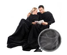 CelinaTex TV-Decke Kuscheldecke mit Ärmeln und Fußtasche 150 x 180 cm schwarz Coral Fleece Tagesdecke Ärmeldecke