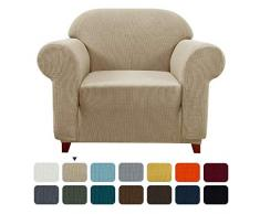 subrtex Spandex Sofabezug Stretch Couchbezug Sesselbezug Elastischer Antirutsch Sofahusse (1 Sitzer, Sand)
