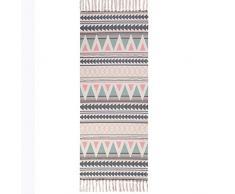 Dongbin Retro Dekorative Baumwollbereich Teppich Handgewebte Maschinenwaschbare Flickenteppich Eingang Dünne Bodenmatte Teppich mit Quaste für Wohnzimmer Schlafzimmer,Lila,60 * 180cm
