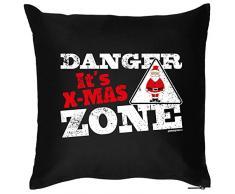 Kissen mit coolem weihnachtsmotiv - Danger its X-Mas Zone - Geschenk - Zierkissen für Couch und Bett