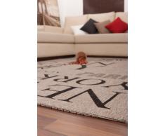 Lalee 347180486 Teppich / Sisal Optik / Flach / Küche / Muster : Metropole / Silber / Grösse : 120 x 170 cm