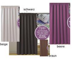 novum fix Vorhang, Gardine für Verdunkelung mit Thermoeffekt, Universal-Schienenband, blickdicht und lichtundurchlässig, 140 x 245 cm (BxH), schwarz