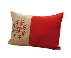 Kissen mit Schneeflocke Weihnachten nordisch rot 60x40cm