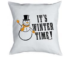 Weihnachten Geschenk Idee Kissen mit Innenkissen - WINTER TIME Advent Deko Nikolaus 40x40cm weiß : )