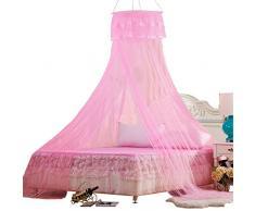 Prinzessin Betthimmel Baldachin Bettvorhang Deko Babybetthimmel Spiel Zelt Prinzessin Dekoration Rund Moskitonetz Insektenschutz Kinderzimmer (Pink)