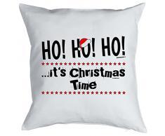 Weihnachten Geschenk Idee Kissen mit Innenkissen - CHRISTMAS TIME Advent Deko Nikolaus 40x40cm weiß : )