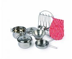 small foot 8968 Kochgeschirr Gustav aus Metall, inkl. Topfhandschuh und Küchenhelfer, für Spielküchen, ab 3 Jahre