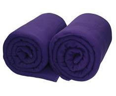 Betz 2 Stück Maxi Fleecedecke Kuscheldecke in Größe 140x190 cm Qualität 220 g/m² verschiedene Farben Farbe lila