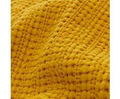 URBANARA 240x265 cm Tagesdecke/Plaid Anadia Senfgelb - 100% Reine Baumwolle - Ideal als Bettüberwurf oder Kuscheldecke - Stonewashed-Effekt - geeignet für Einzel- und Doppelbett