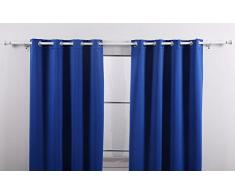 Deconovo Blickdicht Vorhang mit Ösen für Junge, uni Thermogardinen, H×B: 138×117 cm, Blau, 2er set