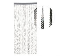 HAB & GUT -DV0131A- Türvorhang Silber aus Pailetten, 90 x 200 cm Perlenvorhang