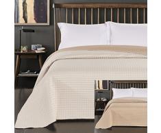 DecoKing 45954 Tagesdecke 220 x 240 cm creme beige Bettüberwurf zweiseitig Steppung cream ecru ivory Elfenbein cappuccino Paul