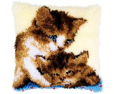 Vervaco Knüpfkissen 2 Katzen Knüpfpackung, Baumwolle, Mehrfarbig, 40 x 40 x 0,3 cm