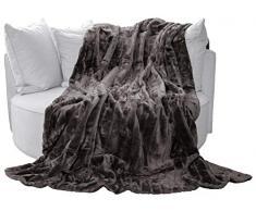 Auro Hochwertige Kuscheldecke-Felldecke für Wohn- und Schlafräume, 200x150 cm, Anthrazit / Grau