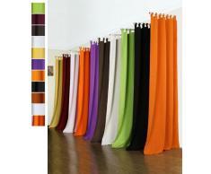 Vorhang BlickdichtMatte unifarbene Gardine mit Schlaufen. aus Edlem Microsatin Micofaser-Gewebe. 225x140, Orange, 20400