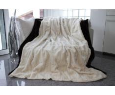 Auro Hochwertige Kuscheldecke-Felldecke für Wohn- und Schlafräume, 200x150 cm, Weiß