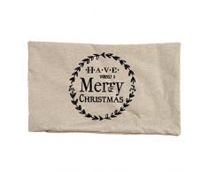 Merry Christmas Kissen werfen Kissenbezug mingfa Soft Rechteck Vintage Kissenbezüge Sofa Bett Home Decor, Flax, weiß 2, 30cm*50cm/12*20