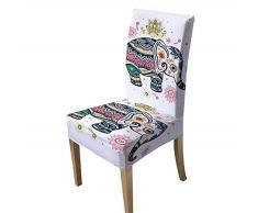 VYEKL Elephant Chair Cover Regenbogen Mandala Spandex Schonbezug Hochzeitssitzbezug Stretchbezug Floral Copri Sedia 4-TLG