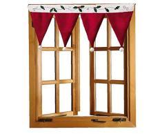 Canjerusof 1 Stück Weihnachten Gardinen Ausgebogte Volants Für Küche Dekorative Red Curtain Valance Darpes 35X16