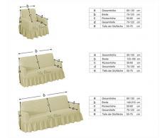 Stretch Sesselschoner, Sesselbezug, Sesselhusse aus Baumwolle & Polyester in creme. Sofaueberwurf / Sofabezug / Sofahusse / Elastisch Husse /