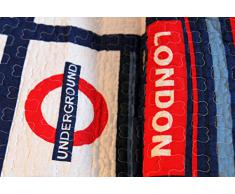 1001 Wohntraum 13D58 Quilt London 180 x 220 cm Union Jack Subway UK Plaid Tagesdecke, Patchwork Vintage
