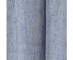 """URBANARA Vorhang """"Sameiro"""" 100% Leinen, Chambray Webung, Einzelner Schal mit Tunnelzug Aufhang – 140cm x 320cm, Dunkles Graublau"""