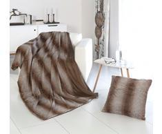 RF My Home Exklusive Wohndecke ODER Kissen in Felloptik/Webpelz Streifen braun-beige, Decke 150x200 cm