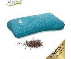 Vitabo Buchweizenkissen zum Schlafen und Liegen   Kopfkissen für Nacken und Wirbelsäule   Natürliches Schlafkissen mit ergonomischer Stützfunktion 27 x 45 cm (Türkis)