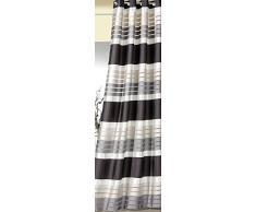 Gardine BLICKDICHT Ösenschal mit chic schimmernden Querstreifen in schwarz-grau-perlmutt HxB 245x140 cm hochwertige weichfliesende Qualität mit schönem Fall …auspacken, aufhängen, fertig! Vorhang Dekoschal Typ201