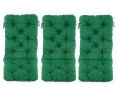 Ambientehome 3er Set Hochlehner Auflage Kissen Hanko Maxi, grün, ca 120 x 50 x 8 cm, Rückenteil ca 70 cm, Polsterauflage
