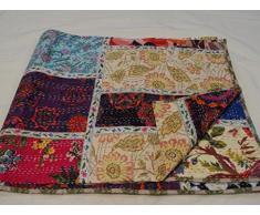 Patchwork-Decke/Überwurf 1111, handgefertigt, mehrfarbig/Paisley-Muster, 229 x 274 cm, Queensize