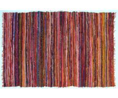 Guru-Shop Leichter Flickenteppich, Flickendecke 100x160 cm - Orange-bunt, Baumwolle, Teppiche, Bodenmatten