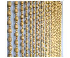 GuoWei Beige Perlenvorhang Türvorhang Holz zum Tür Eingang Balkon Hängend Strings Raumteiler Dekorieren Rustikal Stil, Anpassbar (Size : 32 strands-95cmx198cm)