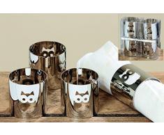 12 Stück Serviettenringe aus Metall Motiv Eule silber Serviettenhalter Tischdekoration