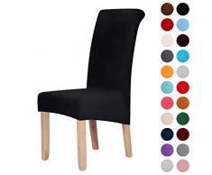 Stuhlhussen aus Samt, Stretch, Elastan, Plüsch, kurz, einfarbig, für große Esszimmerstühle, Stuhlschutz, Heimdekoration, Samt, Schwarz , Set of 2 (Large)
