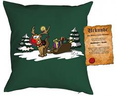 Rudolph the rednosed reindeer Rudolph the rednosed reindeer Geschenk Weihnachten Kissen mit Füllung - Dekokissen Sofakissen Geschenk Weihnachten Nikolaus