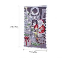 prom-near Weihnachten Scheibengardine Weihnachtsmann Tanne Gardine Vorhang Weihnachtsgardine HxB 213×102cm - Ohne Lichterkette
