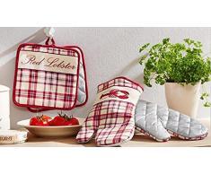 Topflappen + Topfhandschuhe 4er Set Ofenhandschue Grillhandschuhe (RedLobster)