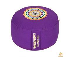 Yogabox Meditationskissen Glückssitz Chakra, 7. Chakra Kronen-Chakra mit OM (Sahasrara) / aubergine