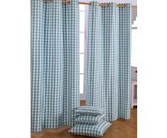 Homescapes Ösenvorhang blickdicht Karo blau weiß Dekoschal 2er Set Breite 137 x Länge 228 cm Vorhang Paar 100% Baumwolle