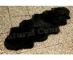Doppel Lammfell Fellteppich Läufer schwarz ca. 205 x 70 cm