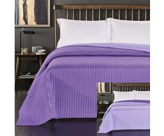 DecoKing 45916 Tagesdecke 220 x 240 cm lila violett Bettüberwurf zweiseitig Steppung purple Paul